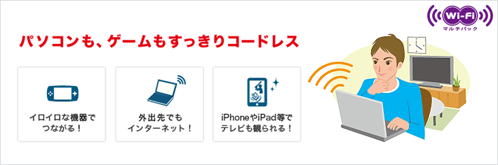 Wi-Fiマルチパックで自宅内の無線LANも外のWi-Fiスポットでもインターネットが利用可能になる。